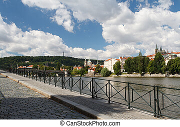 Beautiful quay in Prague. View of the River Vltava and...
