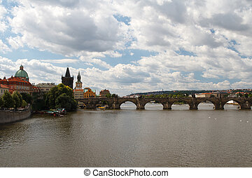 Views of the City of Prague. Charles Bridge and the Vltava...