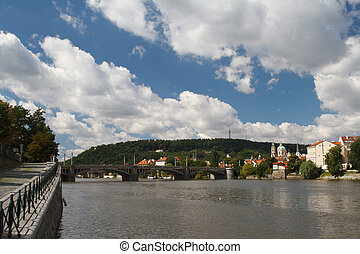 Vltava River in Prague. View from the embankment to the...