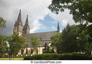beautiful gothic Basilica of St Peter and St Paul, Vysehrad,...