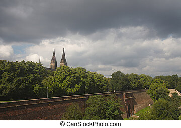 View of the fortress of Vysehrad before the storm. Prague,...