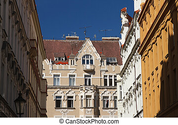 The typical Prague architecture. Fragments of buildings