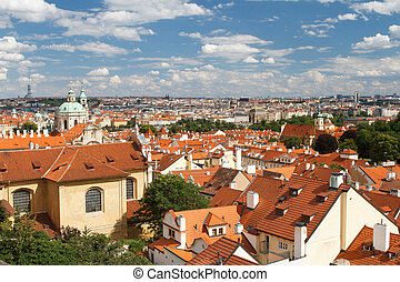 top view of the Hradcany district of Prague. Czech Republic