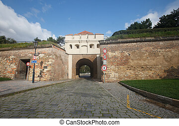 Fortress wall and Tabor Gate (Taborska Brana) , the entrance...