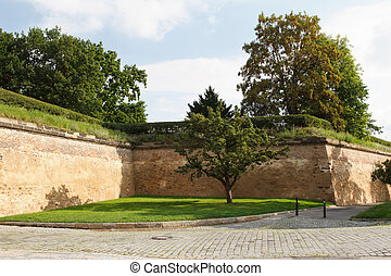 Vysehrad fortress old brick wall. Prague, Czech Republic