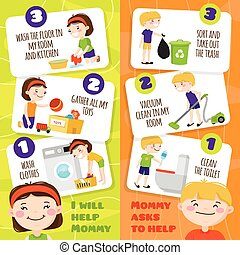 Kids Cleaning Banners - Colorful vertical banners set with...