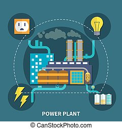 Power plant design vector illustration - Power plant layout...