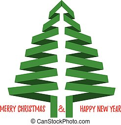 Vector Christmas tree with greetings. Isolated on white.