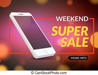 Super sale phone banner. Mobile clearance sale discount poster. Smartphone sale. Marketing special offer promotion