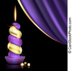 purple yellow candle and drape - black background, dark...