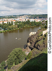 Beautiful view of Vysehrad on the river Vltava and city of...