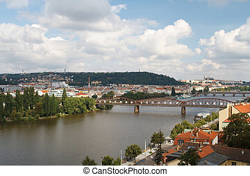 Vysehrad railway bridge View. Prague, Czech Republic