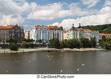 Summer in Prague. Nice view of the Vltava River and the...