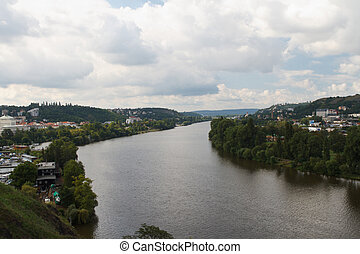 City of Prague and river Vltava. Czech Republic