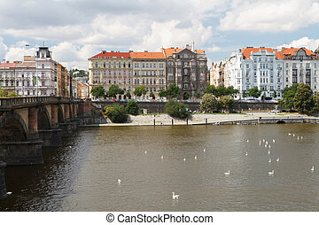 view of the city of Prague. Palacky Bridge and the...