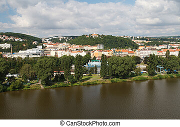 View from Vysehrad on the river Vltava and residential...