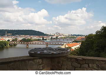 Panoramic view of the Prague castle and left bank of the Vltava