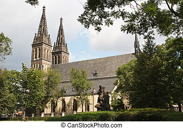 Beautiful church of St. Peter and Paul at Vysehrad castle....