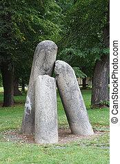 devil's column, Old stone devil's column in Vysehrad in...