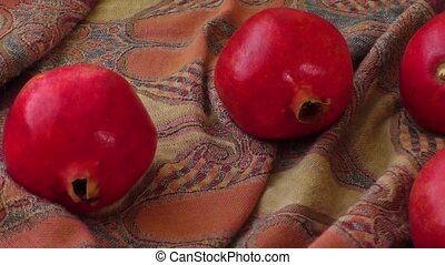 Four red beautiful pomegranates