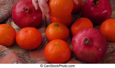 Group of pomegranates,tangerines