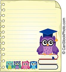 Notepad page with owl teacher and owlets