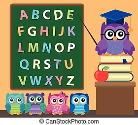 Owl teacher and owlets theme