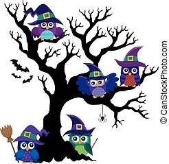 Owl witches theme image 1 - eps10 vector illustration.