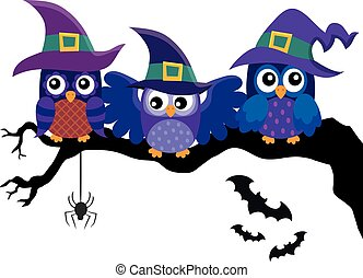 Owl witches theme image 2 - eps10 vector illustration.
