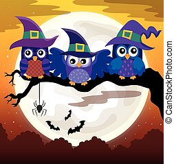 Owl witches theme image 3 - eps10 vector illustration.