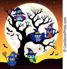 Owl witches theme image - eps10 vector illustration.