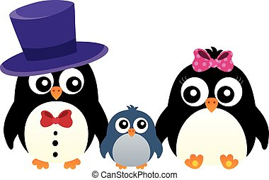 Stylized penguin family image 1 - eps10 vector illustration.