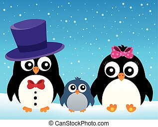 Stylized penguin family image 2 - eps10 vector illustration.
