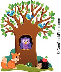 Tree with various animals theme 3 - Tree with various...
