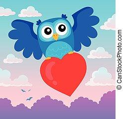 Valentine owl topic image 2 - eps10 vector illustration.