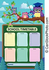 Weekly school timetable illustration.