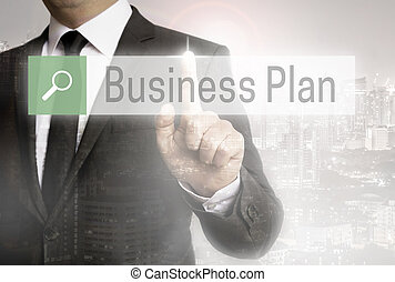 Business man with city background business plan browser.