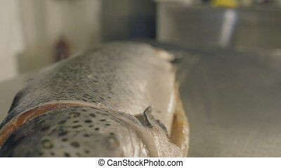 Cook cut up raw fresh fish in kitchen, slow motion