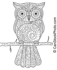 Owl on a branch Coloring book vector for adults - Owl on a...