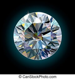 The sparkling diamond on a black background faceted crystal....