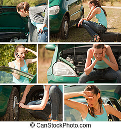 car breakdown collage outdoor - 6 images