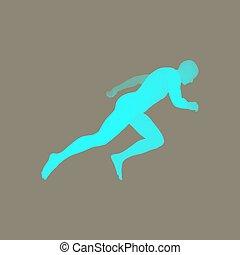 3d Running Man. Vector Illustration. Human Body.