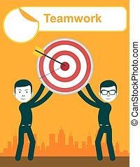 Business people holding target with arrow. Teamwork -...