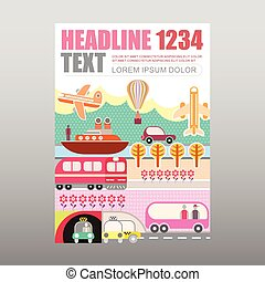 Transport and Travel vector magazine template