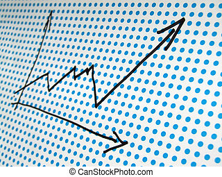 stock graph drawing - graph drawing on dotted background