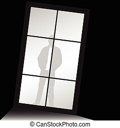 man silhouette standing front of window illustration - man...