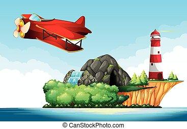 Jet plane flying over the ocean