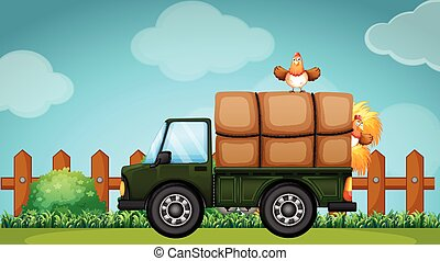 Truck loaded with hay in the farmyard illustration