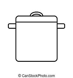 pote, cozinha, isolado, ícone