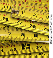 Close up of metal yellow measuring tapes